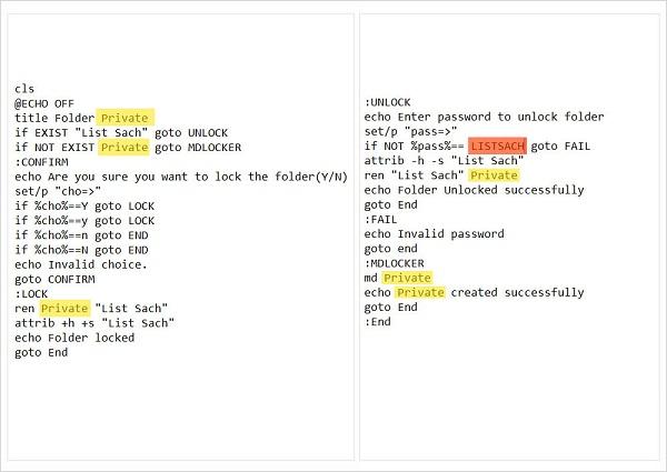 Bước 3: thực hiện chỉnh sửa đoạn mã code để đặt mật khẩu cho Folder