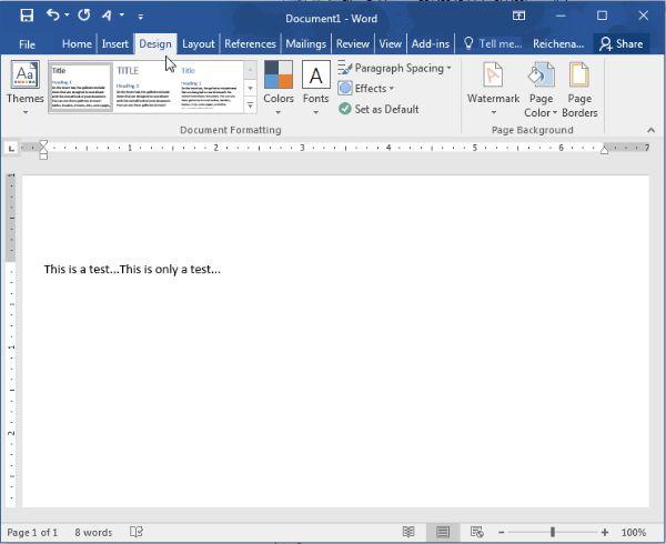 Chọn Design để xuất hiện Page Borders
