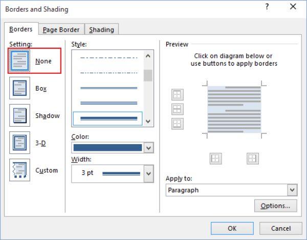 Điều chỉnh các mục trong Borders and shading