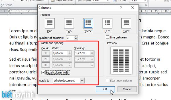 Điều chỉnh kích thước tại Width and spacing