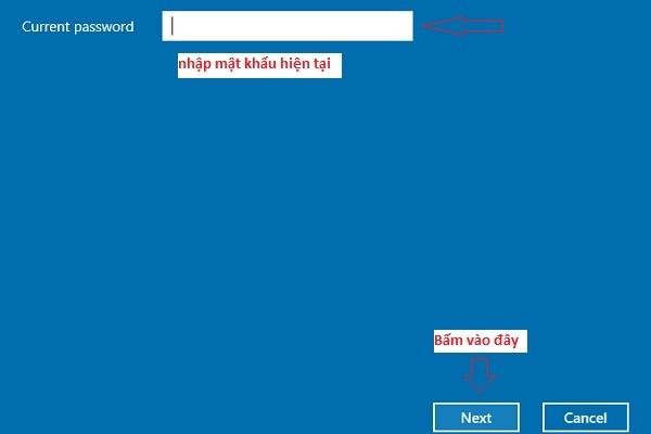 Nhập mật khẩu hiện tại