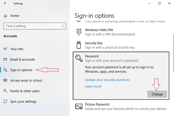 Chọn Sign-in options, mục Password nhấn chọn Change