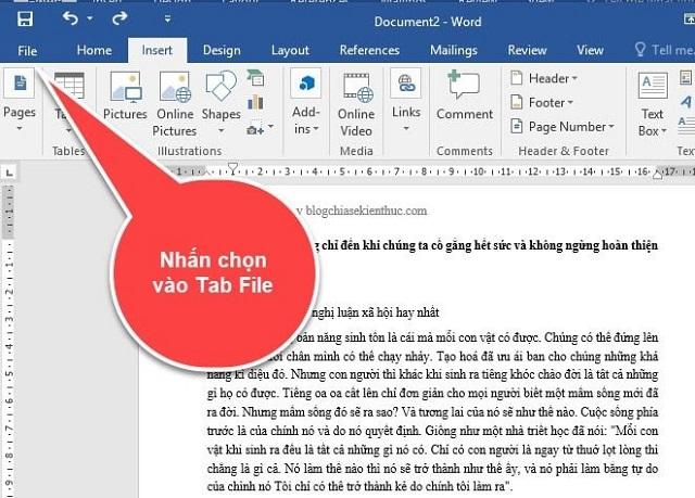 Trong màn hình làm việc của Word bạn tìm đến phần Tab File