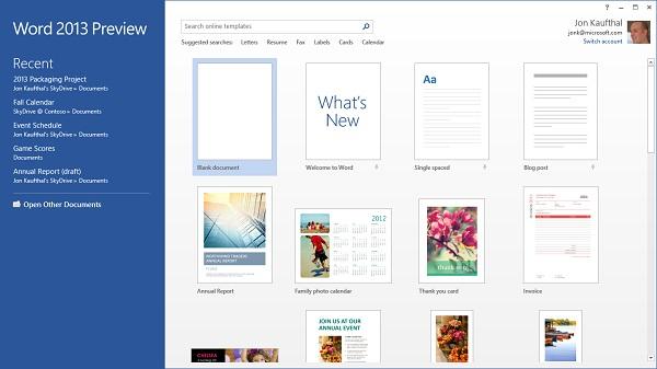 Word 2013 có sẵn các template đẹp, giúp người sử dụng dễ dàng hơn trong công việc của mình