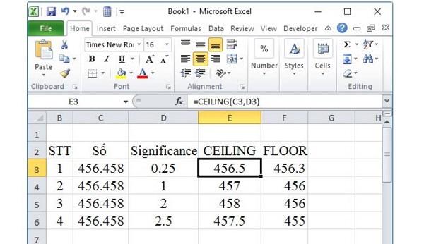 Hàm CEILING và Hàm FLOOR cũng là các lệnh làm tròn trong Excel