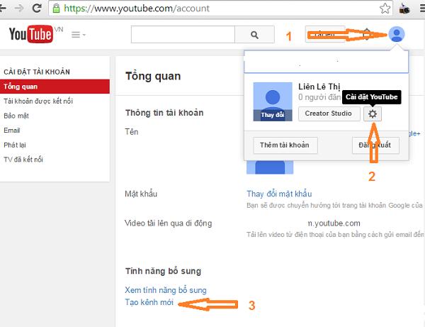Tạo kênh Youtube bằng Gmail của bạn