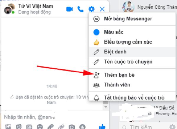 Thêm thành viên vào nhóm chat trên Messenger