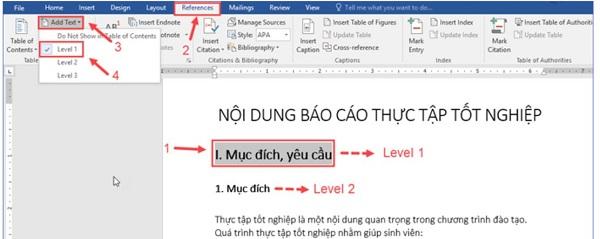 Sử dụng Level để đánh dấu các cấp độ của đề mục văn bản