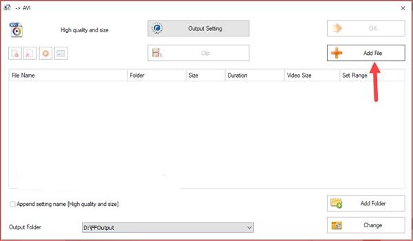 Thêm file chứa video muốn giảm dung lượng