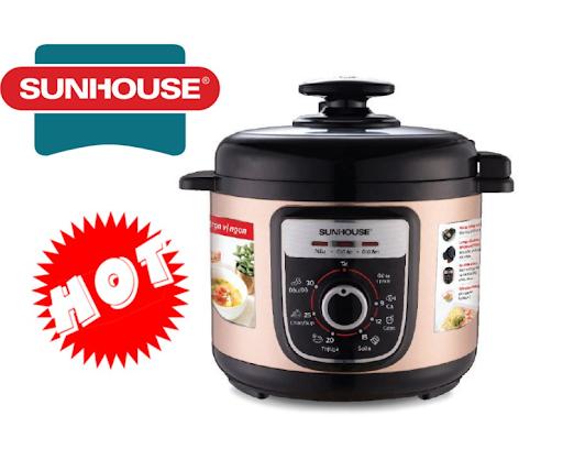 Nồi áp suất điện Sunhouse đa dạng chế độ nấu, có hẹn giờ linh hoạt